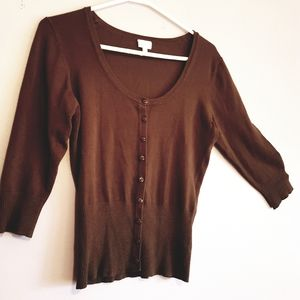 Chocolate Brown Suzie Shier Cardigan / Button Down
